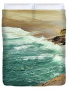Beautiful Shore Of Nazare, Portugal Duvet Cover