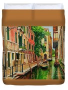 Beautiful Side Canal In Venice Duvet Cover by Charlotte Blanchard