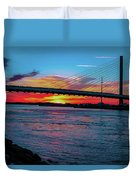 Beautiful Sunset Under The Bridge Duvet Cover