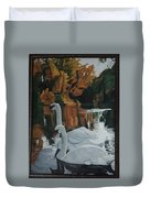 Beautiful Swans Moving In The River Path Duvet Cover