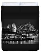 Beautiful Sydney Harbour In Black And White Duvet Cover