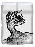 Beautiful Tree In Color Nature Original Black And White Pen Art By Rune Larsen Duvet Cover