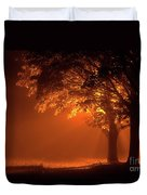 Beautiful Trees At Night With Orange Light Duvet Cover