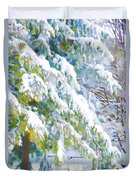 Beautiful Trees Covered With Snow In Winter Park Duvet Cover