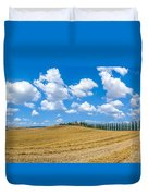 Beautiful Tuscany Landscape With Traditional Farm House And Dram Duvet Cover