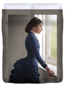 Beautiful Victorian Woman At The Window In A Blue Bussle Dress Duvet Cover