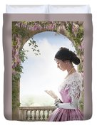 Beautiful Victorian Woman In Pink Dress Standing Under A Wisteri Duvet Cover