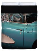 Beautiful Vintage Blue Shining Car Close Up Duvet Cover