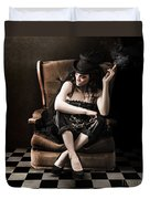 Beautiful Vintage Fashion Girl In Grunge Interior Duvet Cover by Jorgo Photography - Wall Art Gallery