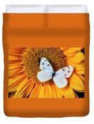 Beautiful White Butterfly On Sunflower Duvet Cover