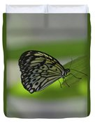 Beautiful White Tree Nymph Butterfly On  A Leaf Duvet Cover