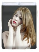 Beautiful White Woman On Red Chair Duvet Cover