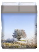 Beautiful Winter Background With Snow Tipped Trees Duvet Cover