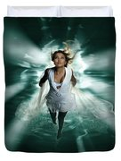 Beautiful Woman Diving In The Water Duvet Cover