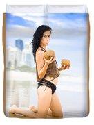 Beautiful Woman In Beach Heaven Duvet Cover