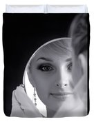 Beautiful Woman In Bridal Veil Looking At A Mirror Duvet Cover