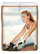 Beautiful Woman On The Bicycle Duvet Cover
