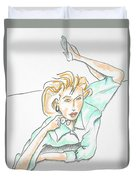 Beautiful Woman, Reclining -- Portrait Of Woman On Floor Duvet Cover