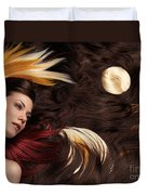 Beautiful Woman With Colorful Hair Extensions Duvet Cover