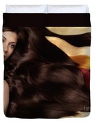 Beautiful Woman With Hair Extensions Duvet Cover