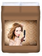 Beautiful Woman With Short Red Hair. Hairdressing Duvet Cover