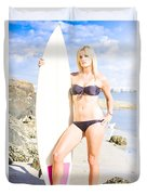Beautiful Young Blond Surf Woman Duvet Cover