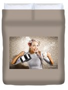 Beautiful Young Retro Woman With Cup Of Coffee Duvet Cover