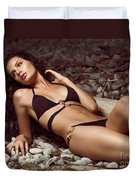 Beautiful Young Woman In Black Bikini On A Pebble Beach Duvet Cover by Oleksiy Maksymenko