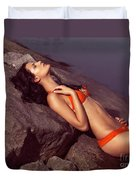 Beautiful Young Woman In Orange Bikini Duvet Cover