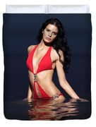 Beautiful Young Woman In Red Swimsuit Standing In Water Duvet Cover