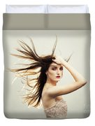 Beautiful Young Woman With Windswept Hair Duvet Cover