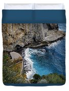 Beautifully Carved Out Swimming Deck On The Edge Of The Sea On The Amalfi Coast In Italy  Duvet Cover