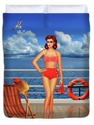 Beauty From The 50s In Bikini  Duvet Cover