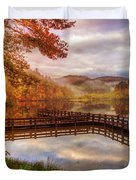Beauty Of The Lake In Autumn Deep Tones Duvet Cover