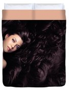 Beauty Portrait Of Woman Surrounded By Long Brown Hair  Duvet Cover