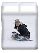 Beauty Sliding Backwards With A Smile Duvet Cover