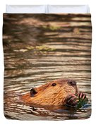 Beaver Feeding Duvet Cover