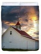 Beckwith Ranch At Sunset With Crepuscular Rays And Virga Duvet Cover