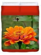 Bee Above Orange Zinnia Duvet Cover