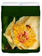 Bee And A Pale Yellow Early Glow Peony Duvet Cover