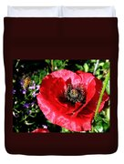 Bee And Red Poppy Duvet Cover