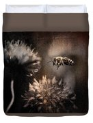 Bee Approaching Red Clover Blossom Duvet Cover