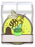 Bee Carrying Gift Box Skep Circle Drawing Duvet Cover