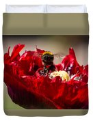 Bee Front With Red Flower Duvet Cover