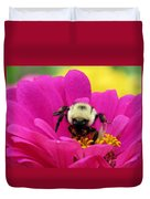 Bee On A Hot Pink Zinnia Duvet Cover