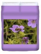 Bee On A Purple Flower Duvet Cover