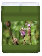 Bee On A Thistle Flower Duvet Cover