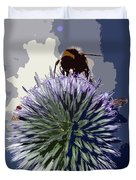 Bee On An Allium Duvet Cover