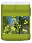 Bee On Broccoli Flower Duvet Cover