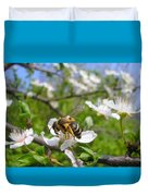 Bee On Flower On Tree Branch Duvet Cover